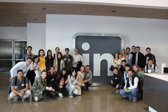 Students visiting LinkedIn headquarters