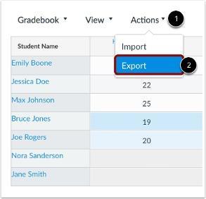 Screenshot of how to export