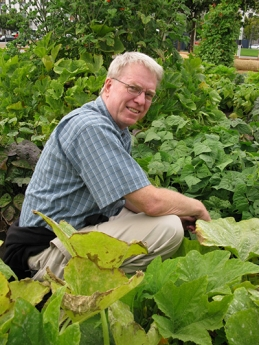 Instructor and author Stephen Albert in his garden