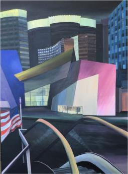 semi-abstract painting of buildings on Las Vegas Strip with car in foreground