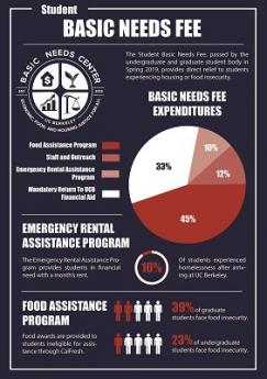 Students create an infographic for UC Berkeley's Basic Needs Center, fall 2019