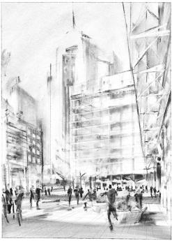 Jennifer Mahoney's urban architecture and street sketch