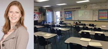 Laura Gale on left with photo of your empty classroom on right