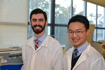 Victor Gavallos (left) and PingWah Poon completing the phase 2 portion of their SFSU Clinical Laboratory Scientist Program