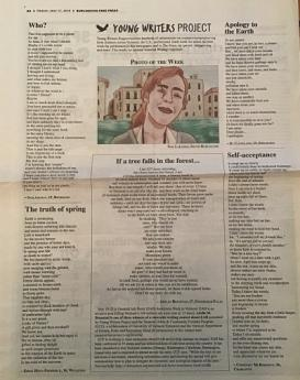 Print publication of the Burlington Free Press showing one of Adelle Brunstad's poems. Photo.