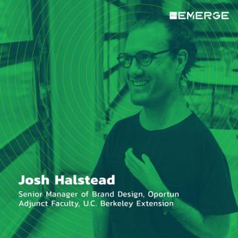Original AIGA cover picture of Josh Halstead with green overlay and concentric circle design