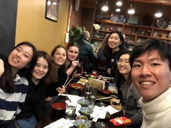 Karin and some of her friends taking a selfie at a restaurant in honor of Chinese New Year.