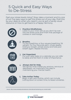 Infographic: 5 Quick and Easy Ways to De-Stress