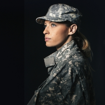 Stock photo of female veteran in Army uniform