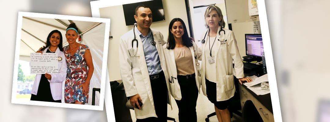 Health Professions Program graduate Ilse Tejeda standing between two health professionals