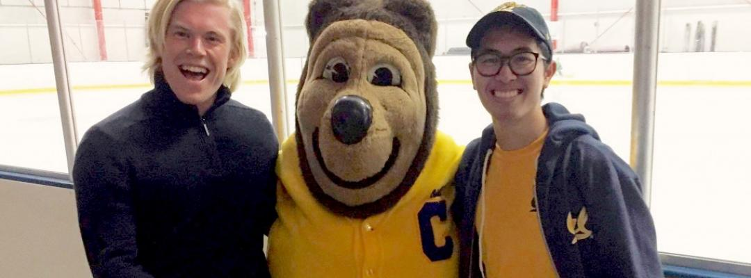 BGA Discover student Dan poses with UC Berkeley mascot Oski bear