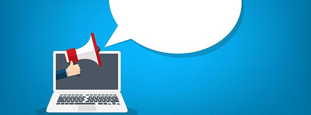Illustration of megaphone coming out of a laptop to a talking bubble