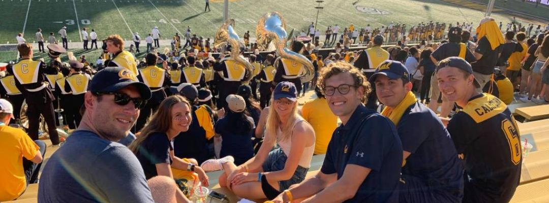 Frederic and friends attend a UC Berkeley football game against UC Davis