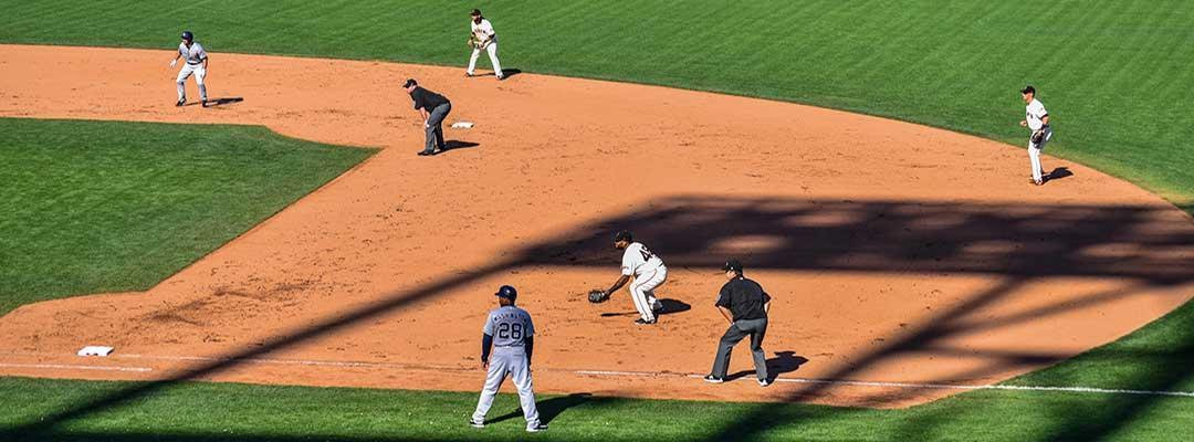 Photo of baseball players on a baseball field