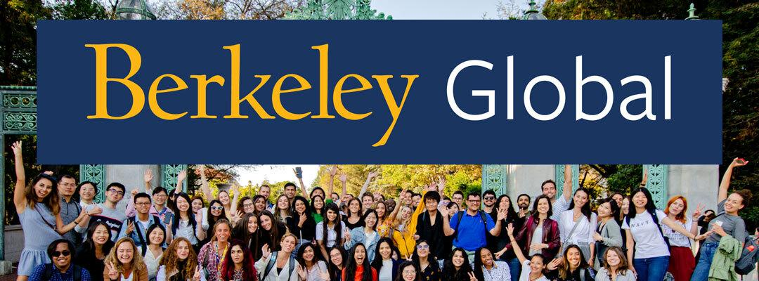 Berkeley Global logo above group of students