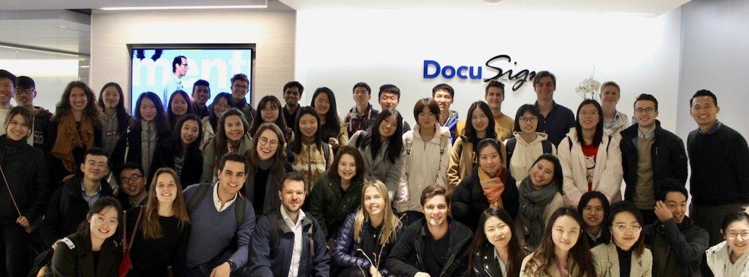 Karin and the rest of the BHGAP group posing for a picture during their visit to the company Docusign.