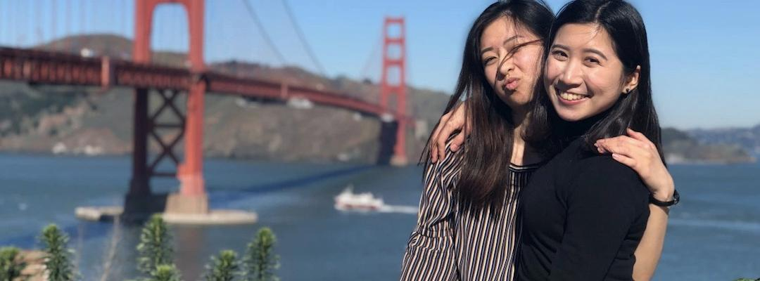 Karin and her friend from BHGAP posed and smiling in front of the Golden Gate Bridge in San Francisco.