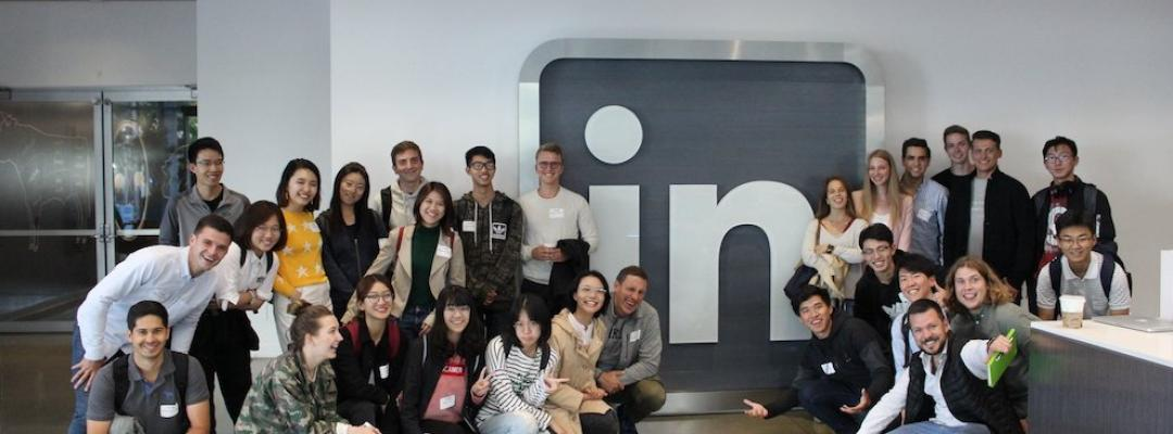 Marcel and other BHGAP students pose at the LinkedIn office.