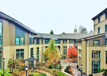 The Haas School of Business buildings in fall at Berkeley