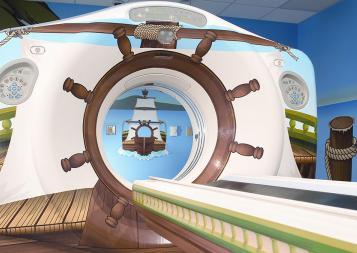 MRI machine decorated like a ship to help children relax