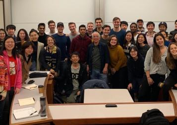 Author and professor Barry Schwartz poses with the BHGAP cohort of international students.