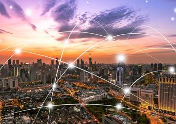 Illustration of telecom lines over a city landscape