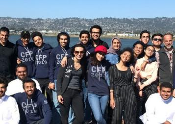 College Foundations Program students pose in front of the Bay