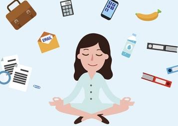 cartoon woman meditating to reduce stress