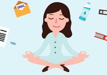 Illustration of woman in yoga position with icons floating around her