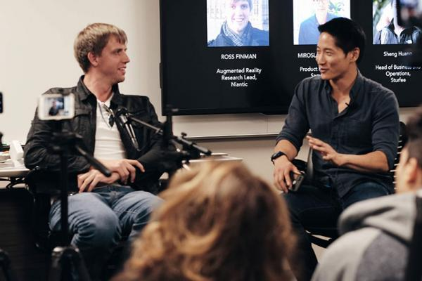 Photo of panelist Ross Finman and moderator Sheng Huang