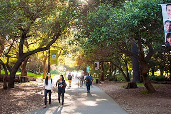 Students walking on a path on UC Berkeley campus