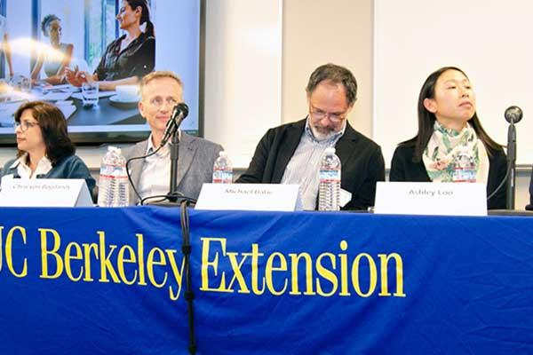 Photo of the Project Management career night panelists sitting behind a table with a UC Berkeley Extension table drape