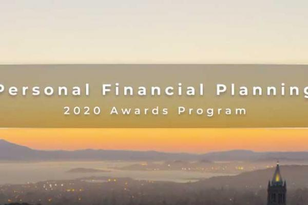 Personal Financial Planning 2020 Awards Program text on top of a picture of Berkeley and San Francisco