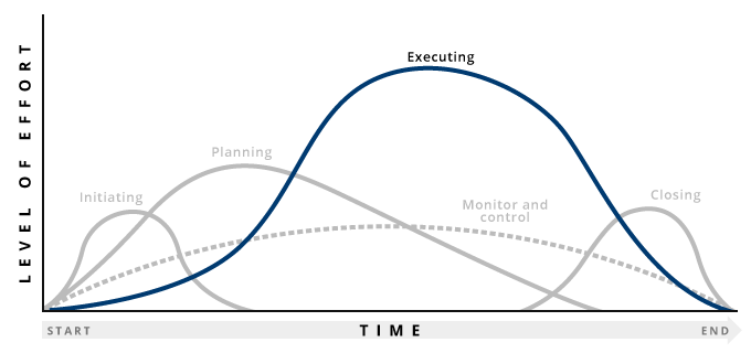 Graph highlighting execution stage of project management process