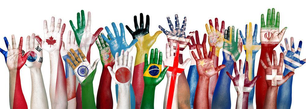 Hands with different country flags