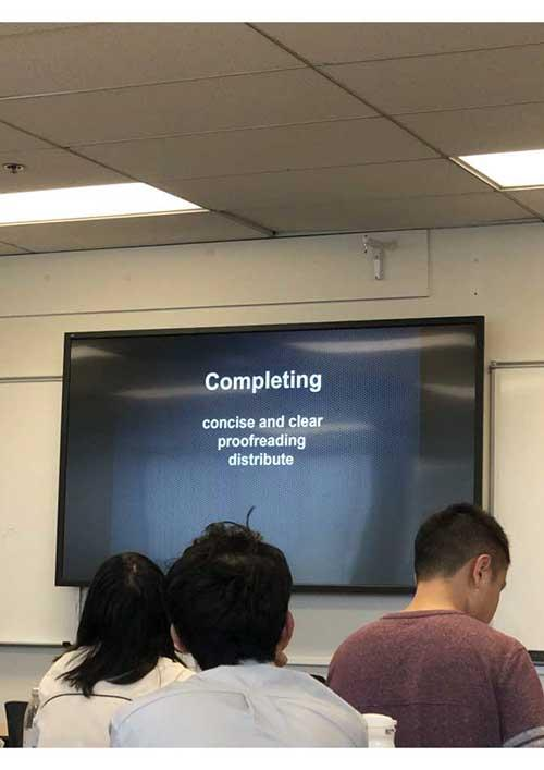 Photo of a Powerpoint presentation at a writing workshop