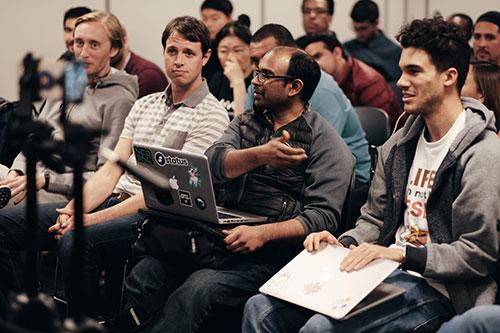 Audience members asking questions at the recent AR event.