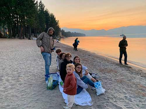 Frederic Bock and family on the beach at Lake Tahoe