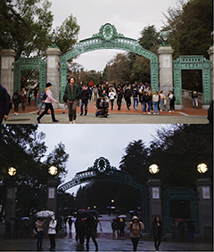 Sather Gate at daytime and night