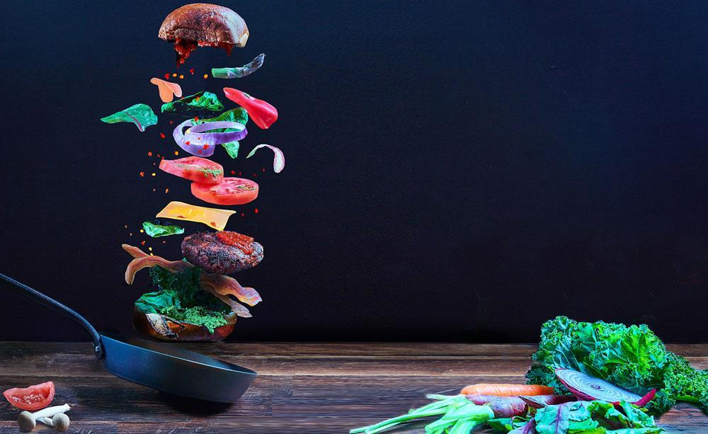 Judy Doherty photo of veggie burger preparation
